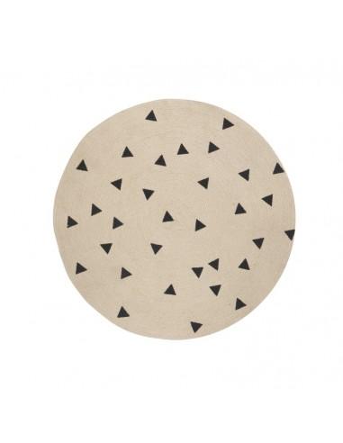 Okrągły dywanik z juty Black Triangles Ferm Living