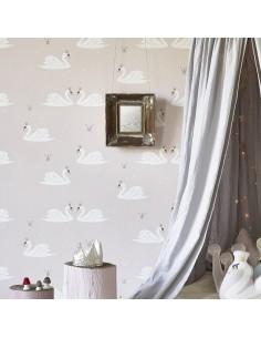 Tapeta w łabędzie Swan pale rose Hibou Home