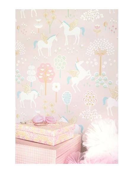 Tapeta Majvillan True Unicorns jednorożce pink KLEJ
