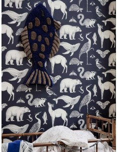 Tapeta Ferm Living Animals - Blue + KLEJ
