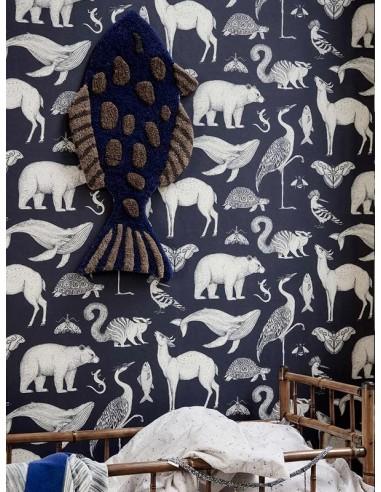 Tapeta Ferm Living Animals - Blue + KLEJ