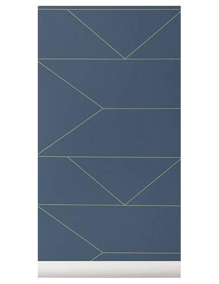 Tapeta Ferm Living w linie Lines dark blue + KLEJ