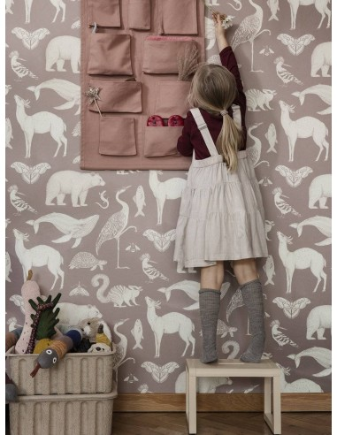 Tapeta Ferm Living Animals - Dusty Rose + KLEJ