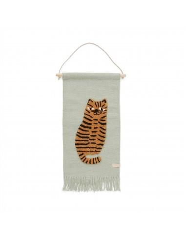 Wełniana makatka OYOY tygrys TIGER GREEN