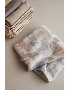 Komplet 3 pieluszek z bawełny organicznej we wzór Safari Ferm Living.