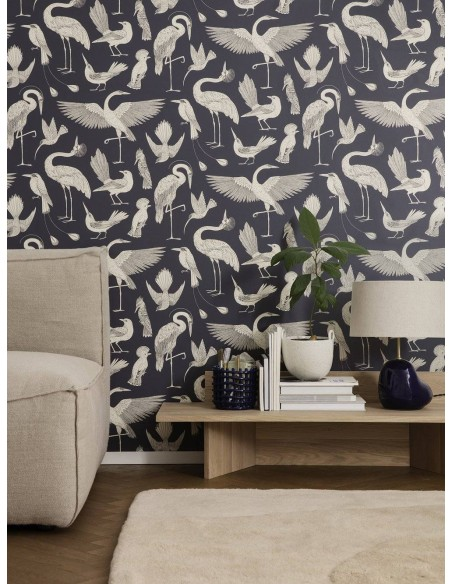Tapeta Ferm Living w ptaki Birds Katie Scott Dark Blue + KLEJ