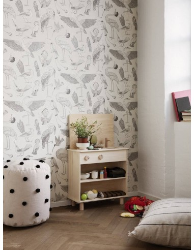 Tapeta Ferm Living w ptaki Birds Katie Scott Off-White + KLEJ