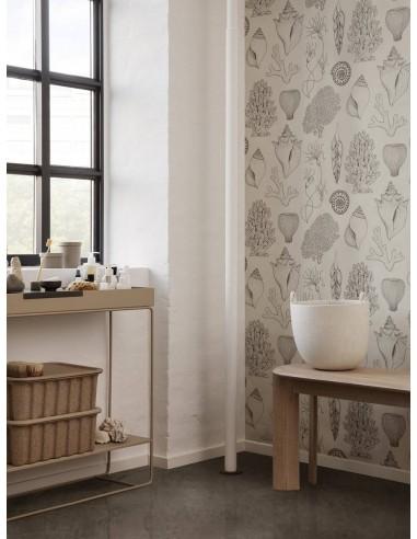 Tapeta Ferm Living Shells - Katie Scott Wallpaper - Shells Off-White + KLEJ