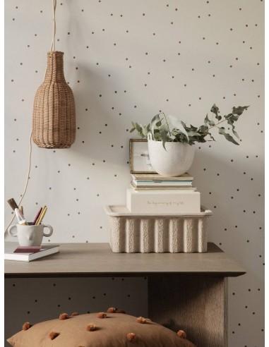 Tapeta Ferm Living Dots kropki off white biała + KLEJ