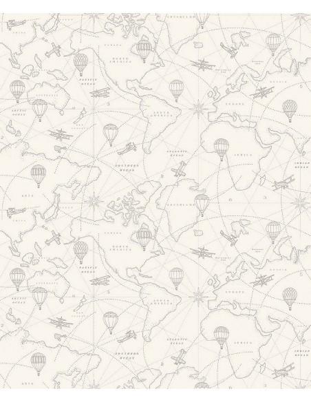 Tapeta Boras Newbie 7457 Adventures Beige Mapa KLEJ