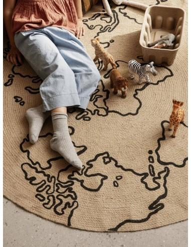 Okrągły dywanik z juty ferm LIVING mapa świata 100 cm