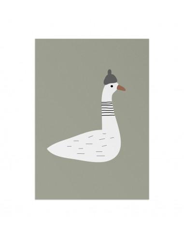 Plakat z gąską Goose olive Little Otja
